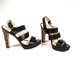 Coach Bertta Strappy Leather Heeled Sandals